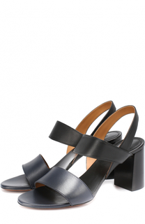Кожаные босоножки на устойчивом каблуке Chloé