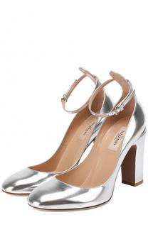 Туфли Tan-Go из металлизированной кожи с ремешком на щиколотке Valentino
