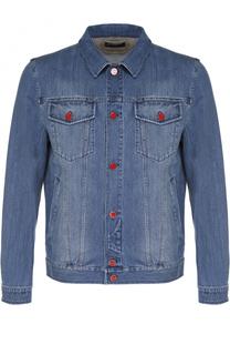 Джинсовая куртка с отложным воротником и контрастными пуговицами Kiton