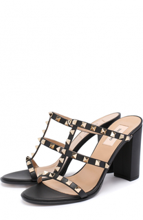Кожаные босоножки Rockstud на устойчивом каблуке Valentino