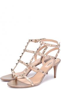 Босоножки Rockstud из металлизированной кожи с ремешками Valentino