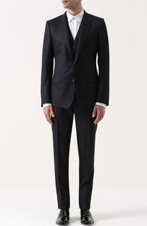 Смокинг-тройка из смеси шерсти и шелка с вышивкой на лацкане Dolce & Gabbana