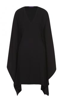 Мини-платье прямого кроя с широкими рукавами и V-образным вырезом Ralph Lauren