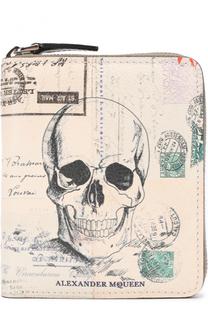 Кожаное портмоне на молнии с отделениями для кредитных карт Alexander McQueen