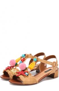 Плетеные босоножки с декором Dolce & Gabbana