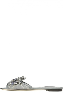 Кружевные шлепанцы Bianca с кристаллами Dolce & Gabbana