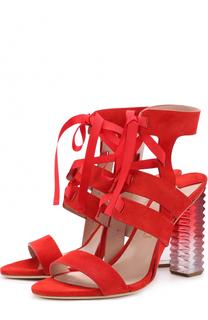 Замшевые босоножки на фигурном каблуке Aperlai