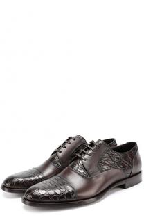 Классические кожаные дерби Napoli с отделкой из кожи крокодила Dolce & Gabbana