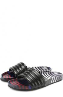 Кожаные шлепанцы на резиновой подошве Fendi
