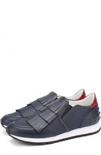 Кроссовки из денима с вставкой из кожи крокодила Limited Edition Tod's