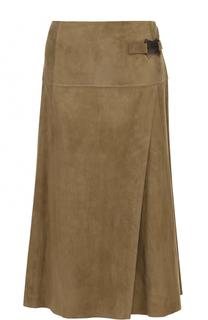 Замшевая юбка-миди с запахом Ralph Lauren