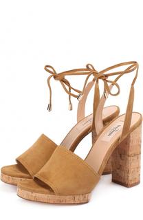 Замшевые босоножки Erin на устойчивом каблуке Valentino
