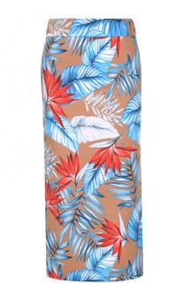 Хлопковая юбка с высокими разрезами и цветочным принтом Stella Jean