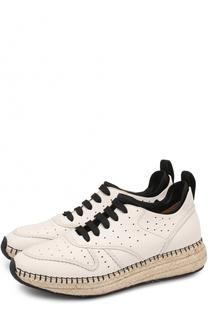 Кожаные кроссовки на джутовой подошве Tod's