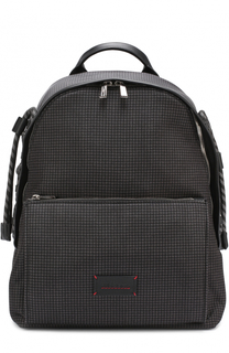 Рюкзак с принтом и отделкой из натуральной кожи Kiton