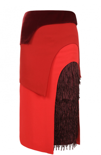 Многоярусная юбка-карандаш с бахромой Tom Ford