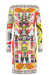 Шелковое платье с ярким принтом и вырезом-лодочка Emilio Pucci