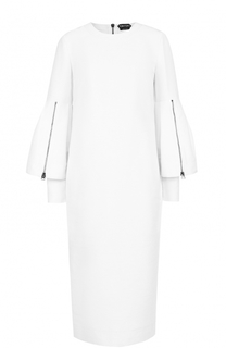 Платье-миди с декоративными оборками на рукавах Tom Ford