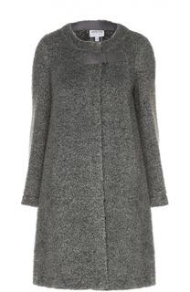 Шерстяное пальто прямого кроя с круглым вырезом Armani Collezioni