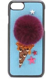 Кожаный чехол для iPhone 7 с аппликацией Dolce & Gabbana