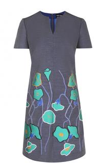 Приталенное мини-платье с цветочным принтом Giorgio Armani