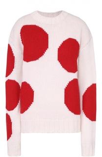 Пуловер прямого кроя с контрастным принтом и круглым вырезом MSGM