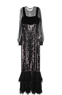 Шелковое платье с пайетками и оборками Tom Ford