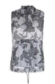 Перфорированный жилет с камуфляжным принтом Adidas by Stella McCartney