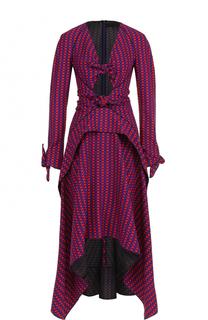 Приталенное платье асимметричного кроя в клетку Proenza Schouler