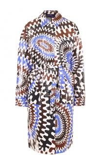 Пальто прямого кроя с принтом и поясом Emilio Pucci