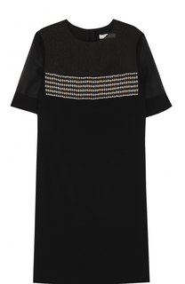 Мини-платье с полупрозрачной вставкой и вышивкой Lanvin