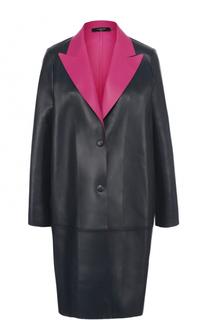 Кожаное пальто с контрастными лацканами Lanvin