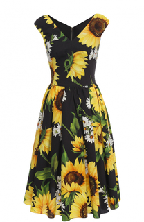 Приталенное платье-миди с цветочным принтом Dolce & Gabbana