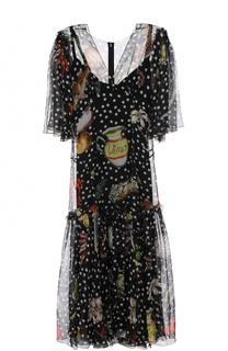 Шелковое платье-миди с контрастным принтом Dolce & Gabbana