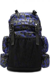 Текстильный рюкзак с анималистичным принтом и внешними карманами на молнии Dsquared2