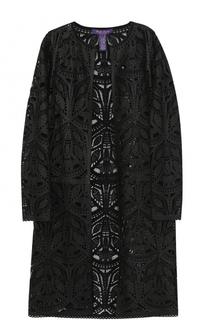 Кожаное кружевное пальто прямого кроя Ralph Lauren