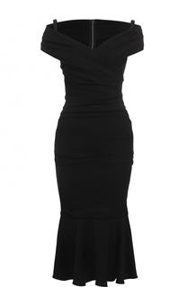 Платье с V-образным вырезом и драпировкой Dolce & Gabbana