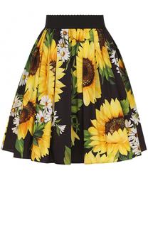 Юбка-миди с широким поясом и цветочным принтом Dolce & Gabbana