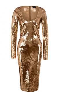 Облегающее платье с круглым вырезом и пайетками Tom Ford