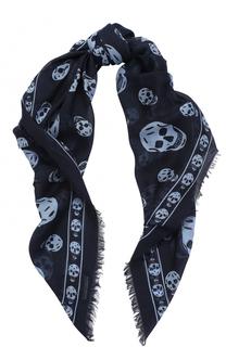 Платок из вискозы и шелка с принтом Skull Alexander McQueen