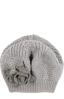 Вязаный берет из шерсти с текстильным декором Catya