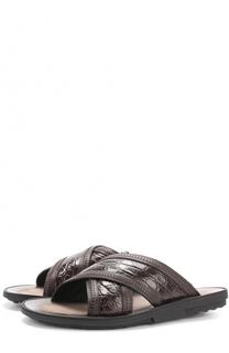 Кожаные шлепанцы с отделкой из кожи крокодила Tod's