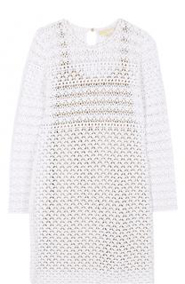 Кружевное мини-платье с длинным рукавом MICHAEL Michael Kors