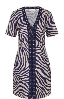 Льняное платье с принтом и шнуровкой MICHAEL Michael Kors