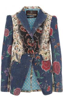 Приталенный джинсовый жакет с принтом Roberto Cavalli