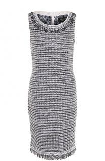 Буклированное приталенное платье с бахромой St. John