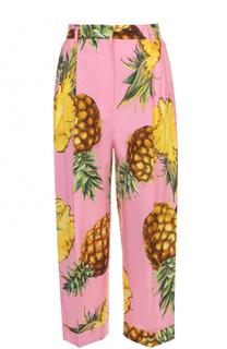 Укороченные брюки с ярким принтом и защипами Dolce & Gabbana