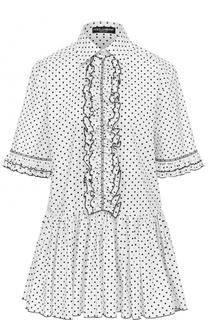 Блуза в горох с оборками и баской Dolce & Gabbana