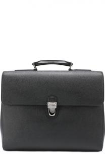 Кожаный портфель с внешним карманом на молнии Dolce & Gabbana