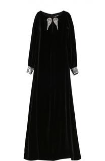 Бархатное платье-макси с контрастной вышивкой пайетками Roberto Cavalli